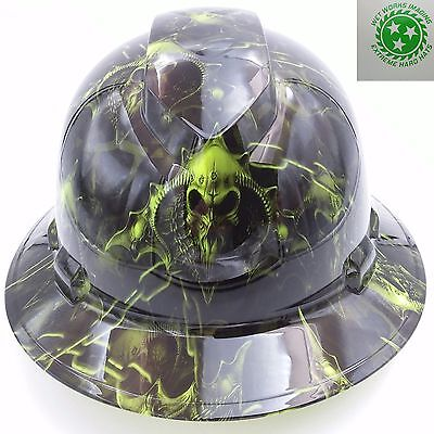 Hard Hat Full Brim Custom Hydro Dipped  Hell Raiser Skulls Hi Vis Green