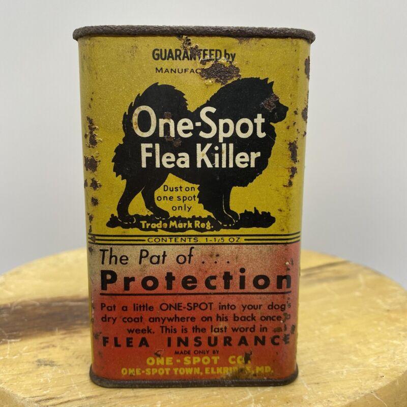 VINTAGE ONE-SPOT FLEA KILLER TIN VETERINARY MEDICINE AND ADVERTISING