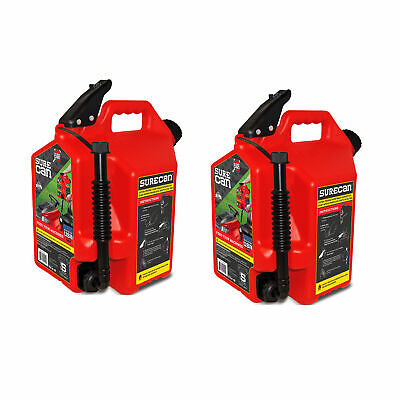 Surecan Self Venting Easy Pour 5 Gallon Flow Control Gas Container 2 Pack
