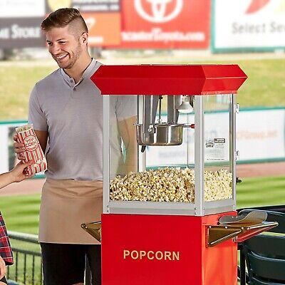 Stainless Steel Red 8 Oz. Electric Popcorn Machine Popper - 120v 850w