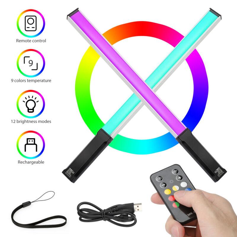 RGB LED Handheld Video Light Stick Remote Control Tube Photography 3200K-5600K