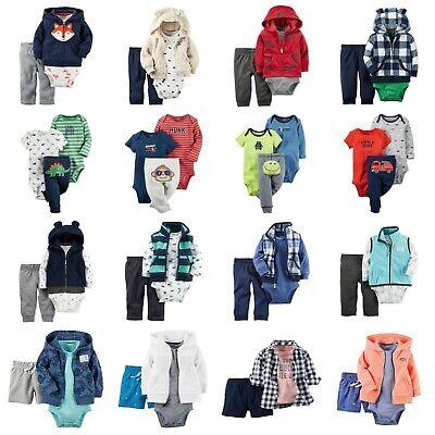 NWT Carters Infant Boy 3-Piece Outfit Set Bodysuits Hoodie Jacket Vest Fleece