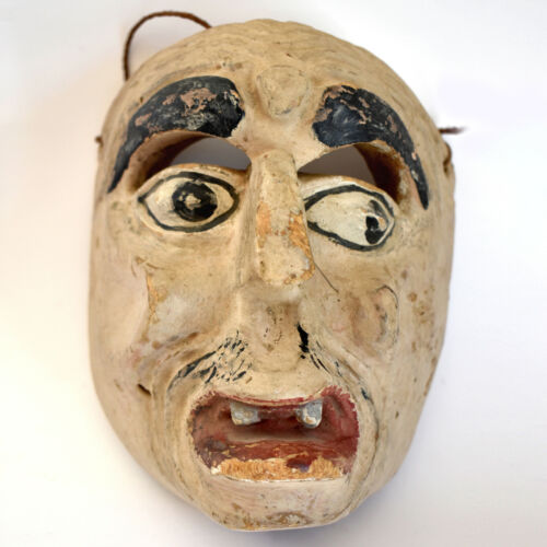 Genuine Rare Antique Noh O-tobide Mask -  Edo Period Japan - Hand Made of Wood
