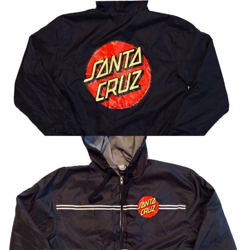 SANTA CRUZ Skateboards Authentic Windbreaker Jacket Hooded Mens Medium FLAWED
