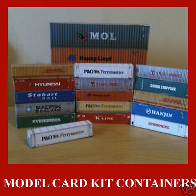 Z Scale Shipping Containers 1:220 Model Card Kits Mixed Set x 12 @ 20/40/45ft
