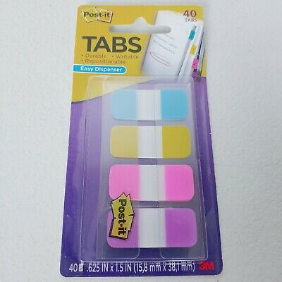 Post-it Tabs In. Blue Yellow Pink Violet Durable Writable 40 Tabs