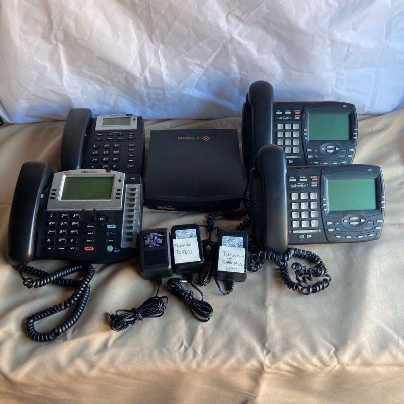 Talkswitch CT.TS001 48CVA PBX Phone System with 4 Phones