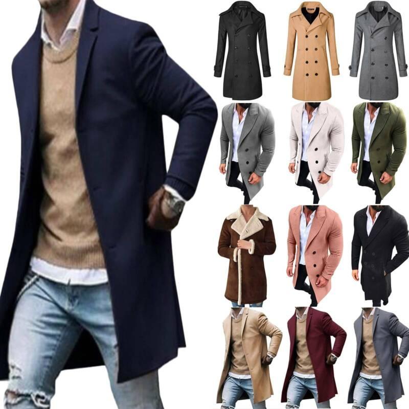 Men's Warm Trench Coat Long Jacket Blazer Overcoat Parka Pea