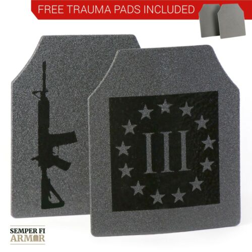 Body Armor AR500 3% Pair of 10x12 Plates Immediate Shipping Free Trauma Pads!