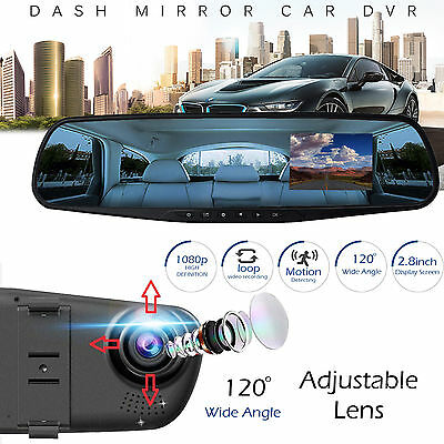 1080P 2.8 inch HD LCD Car Vehicle DVR Cam Recorder Dashboard Mirror HD Camera