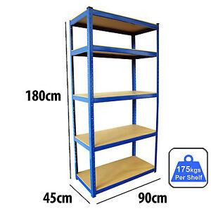 5 Tier Heavy Duty Boltless Metal Steel Shelving Shelves Storage Unit Industrial