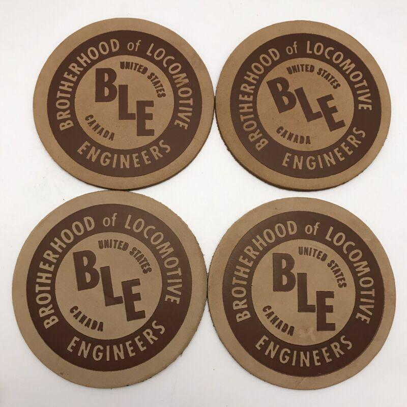 Brotherhood of Locomotive Engineers Vintage Stamped Leather Coasters ~ Railroad
