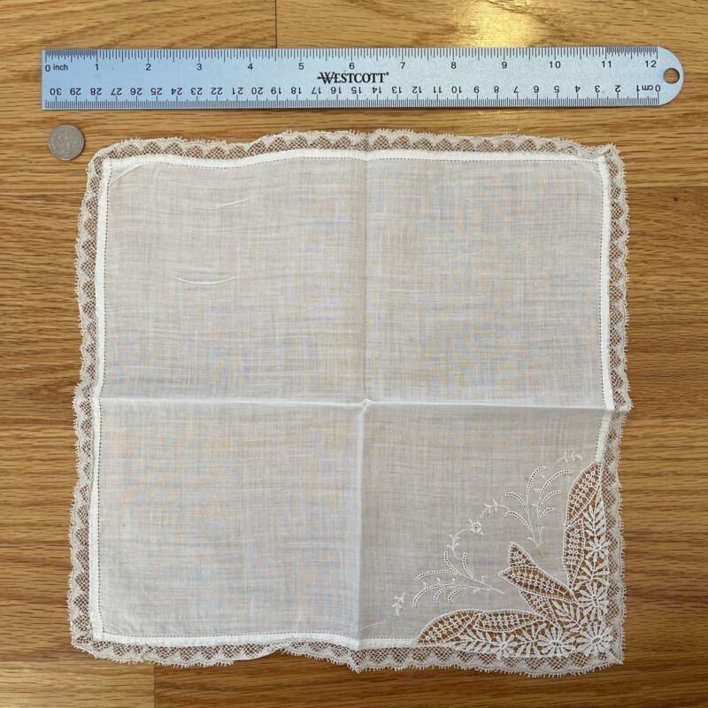 """Antique French Floral Embroidery & Lace Bridal 10"""" Handkerchief"""