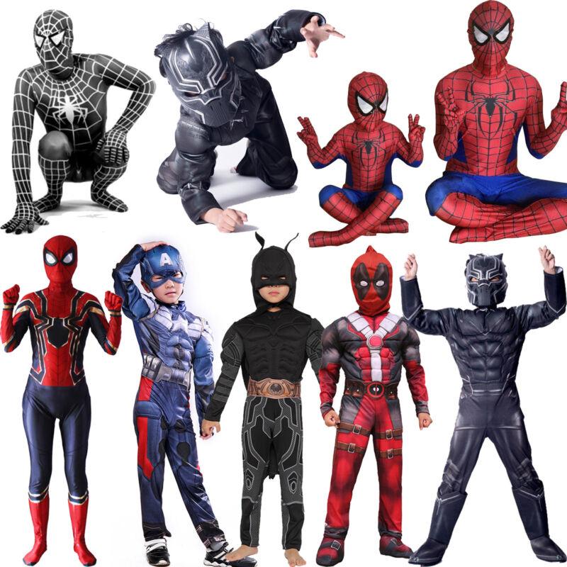 Superheld Spiderman Deadpool Kostüm Cosplay Kinder Jungen Karneval Party Outfits