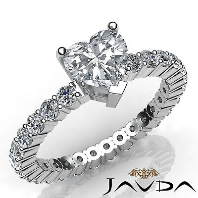 Shared Prong Eternity Style Heart Diamond Engagement Ring GIA H Color VS2 1.8 Ct