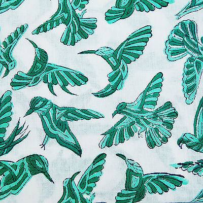 Indian Hand Printed Running Natural Cotton Fabric Green Birds Christmas 10 yards - Handprint Christmas Crafts