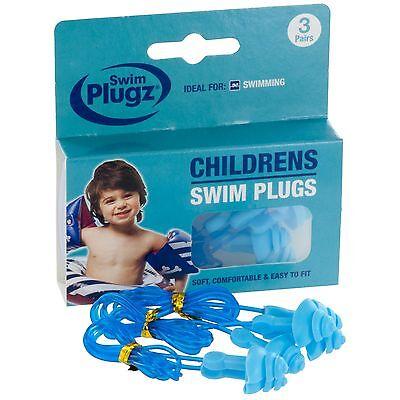Swim Plugz Childrens Swim Earplugs - 3 Pair Pack (FREE UK P&P)