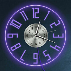 Luminous Wall Clock Easy To Read Big Numbers Modern Silent Quartz Clock 7 Color