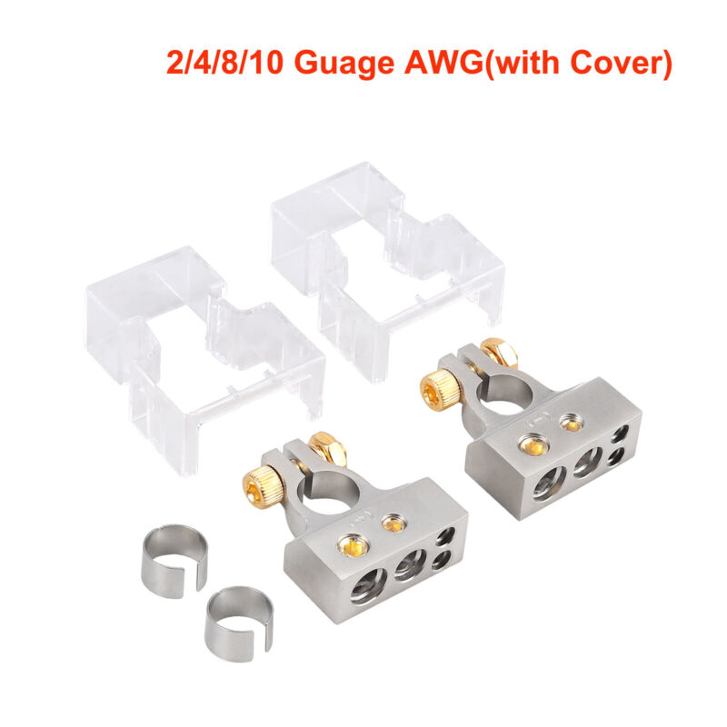 2x Car Battery Terminal Clamp Post 2/4/8/10 Gauge AWG Positive Negative Port US
