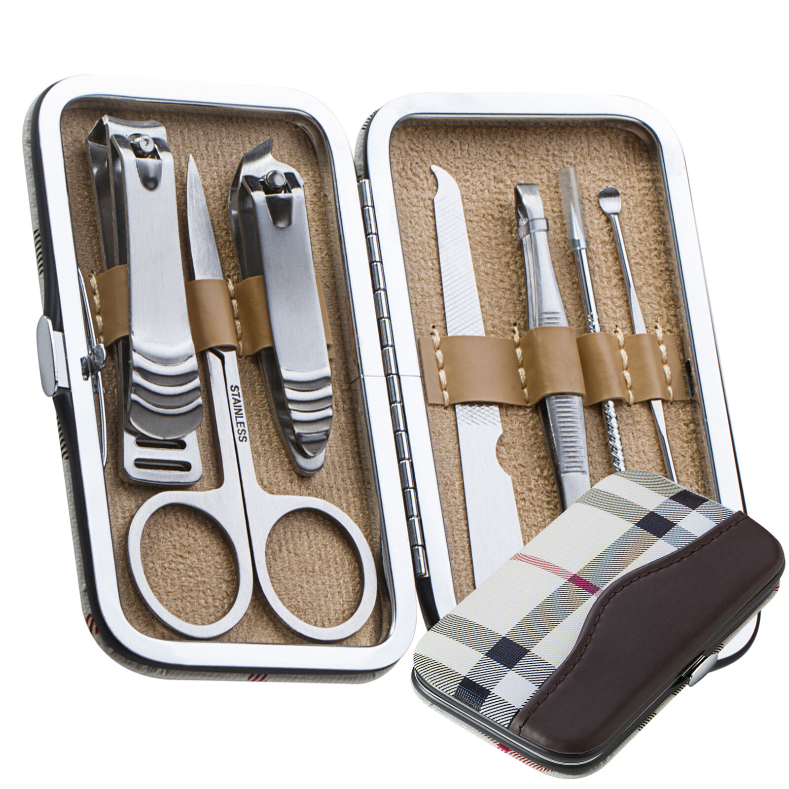 7 PCS Pedicure / Manicure Set Nail Clippers Cleaner Cuticle Grooming Kit Case Health & Beauty