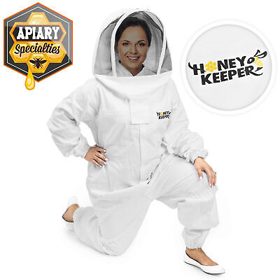 Professional Cotton Full Body Beekeeping Suit W Supporting Veil Hood - 2x Large