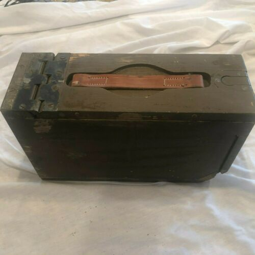 VINTAGE WW 1 WOODEN AMMO BOX W/ORIGINAL LEATHER  STRAP