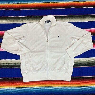 VTG 90s Polo Ralph Lauren Mens M White Terry Cloth Full Zip Track Jacket