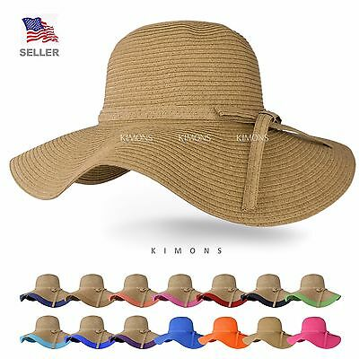 Floppy Hat Brim with Ribbon Women Folding Summer Beach Sun Straw Beach Hat Beach Sun Floppy Hat