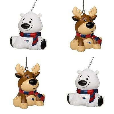 New England Patriots 4 Pack Reindeer Polar Bear Christmas Tree Holiday Ornament ()