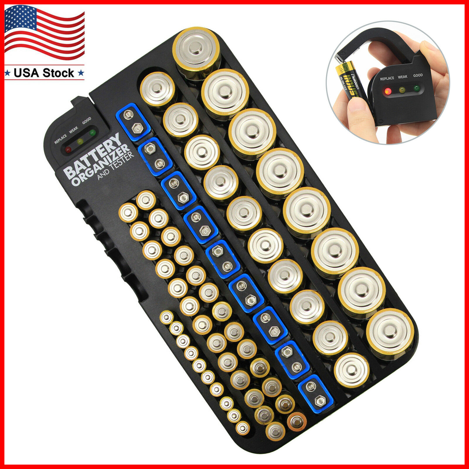 AA AAA D C 9V Battery Storage Case Organizer with Removable Tester Wall Mount