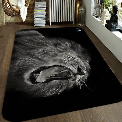 3D Child Lion Growls 5 Non Slip Rug Mat Room Mat Quality Elegant Photo Carpet US