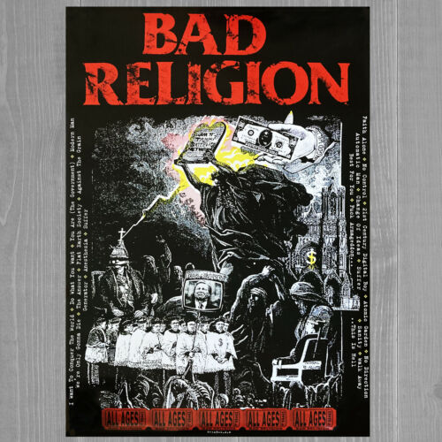"BAD RELIGION ""All Ages"" • Rare 1995 Epitaph 2-Sided Record Store Promo Poster"