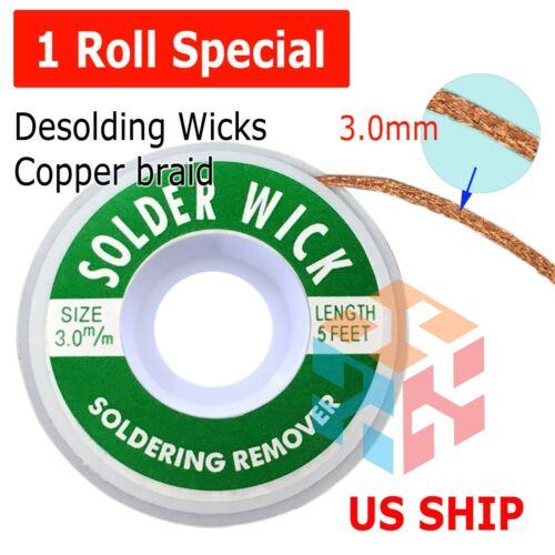 3.0mm Desoldering Braid Solder Remover Spool Copper Wick 5 ft 1.5m - USA Seller