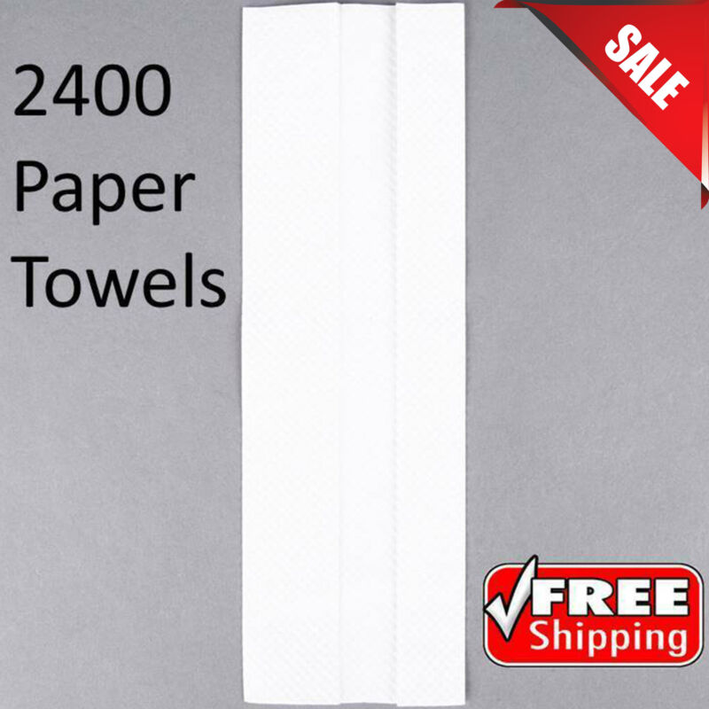 (2400 Pack) Bulk Wholesale White C-Fold Standard Weight Paper Towels Restroom