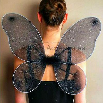 Large Black Glitter Wings Dark Angel Halloween Fancy Dress Gothic Hen Night
