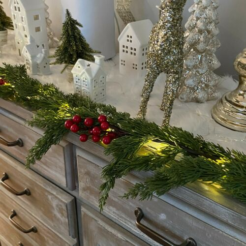 Ridgefield Home Holiday LED Light Up Real Touch Faux Pine & Berry Garland 9