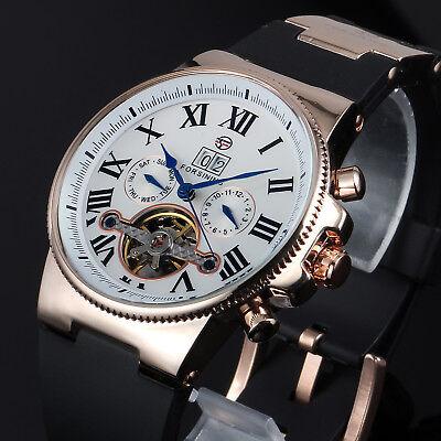 Mens Mechanical Tourbillon Sport Wrist Watch White Dial Rubber Calendar Blue New