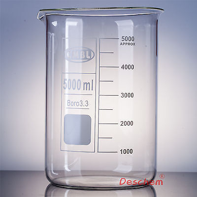 5000ml Glass Beaker 5l Low Form Laboratory Borosilicate Glassware
