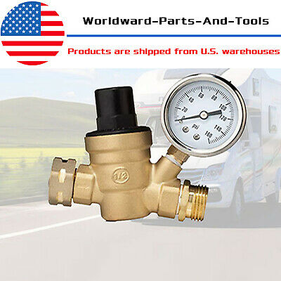 34 Rv Water Pressure Regulator Lead-free Brass Adjustable Reducer And Gauge