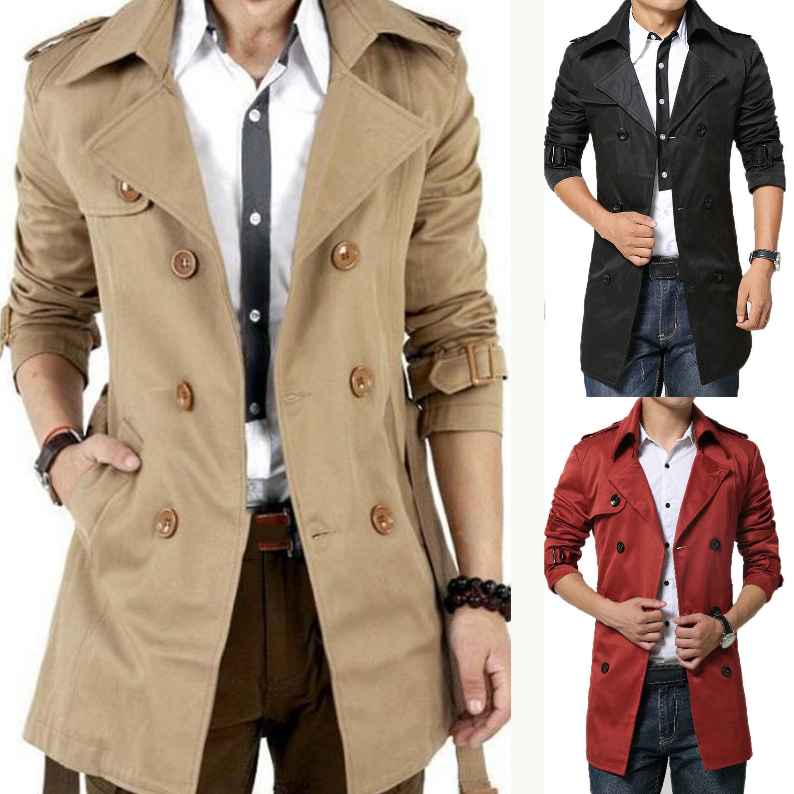 Mens Winter Trench Coat Double Breasted Outwear Peacoat Overcoat Long Jacket Top