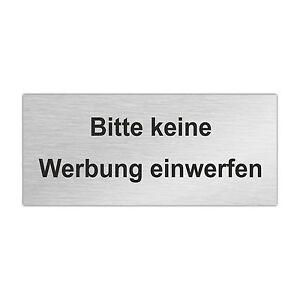 edelstahl briefkastenschild bitte keine werbung einwerfen 80 x 35 mm zb6 ebay. Black Bedroom Furniture Sets. Home Design Ideas