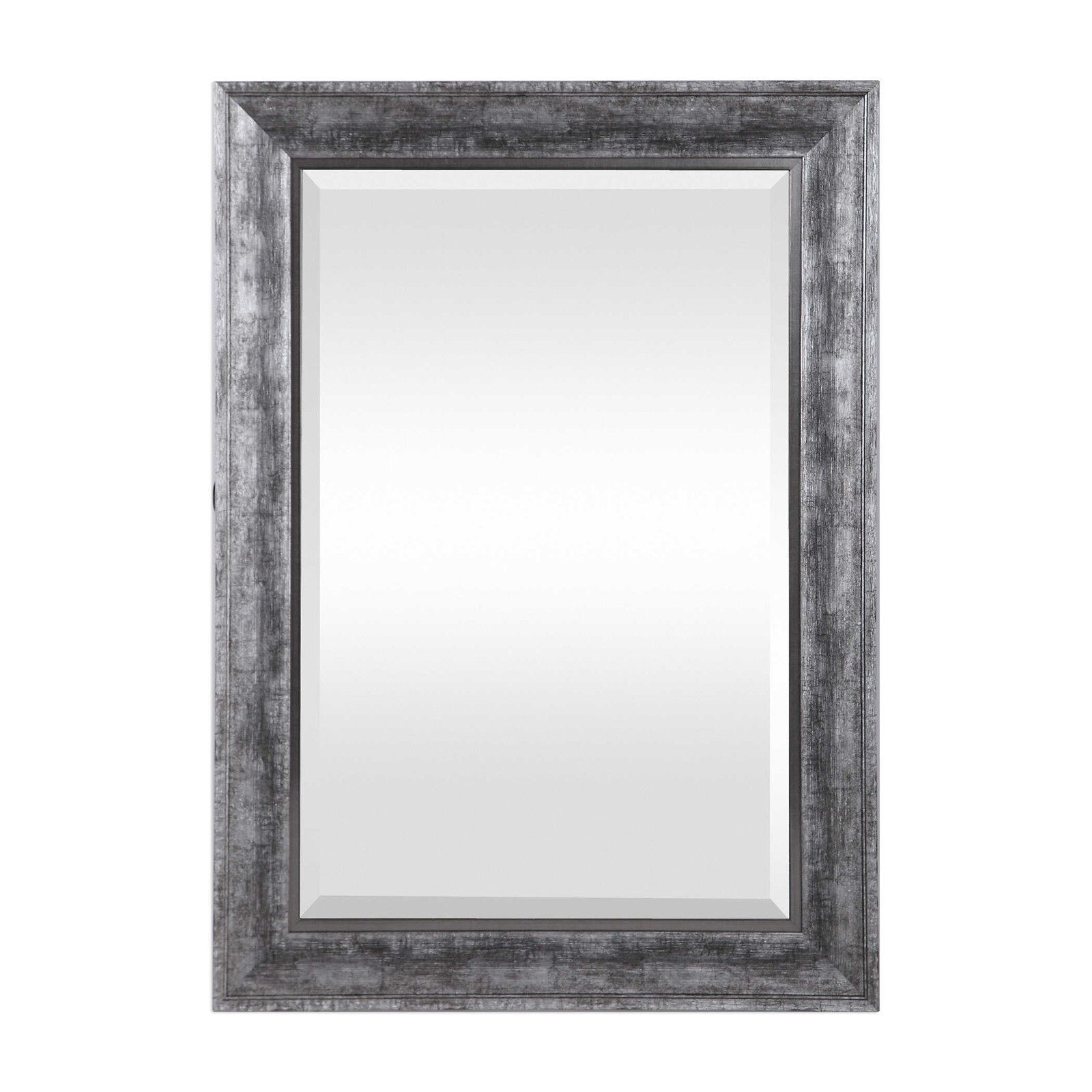 Metallic Wall Mirror Silver Gray 36H Farmhouse Rectangle Dis