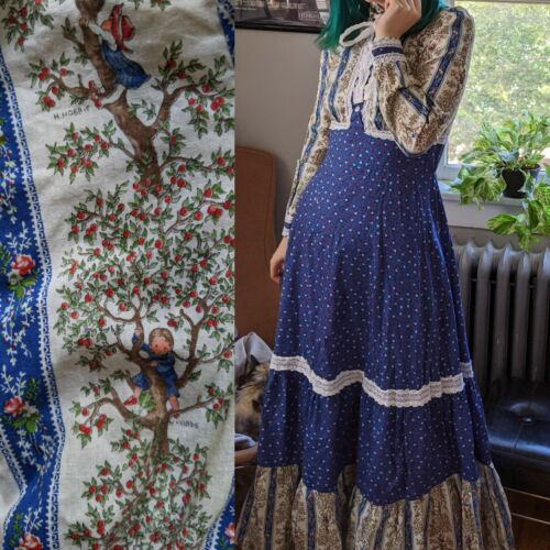Vintage Gunne Sax Black Label Hollie Hobbie Blue Prairie Dress 13 Rare Victorian