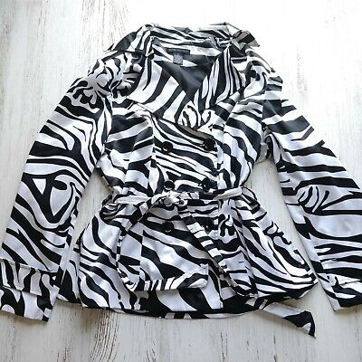 Elena Solano Women's XL Jacket Belted Zebra Lightweight Black White Buttoned (White Lightweight Belted Jacket)