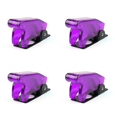 4pcs Toggle Switch Boot Plastic Safety Flip Cover Cap 12mm Clear Purple Usa