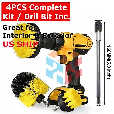 Drill Brushes Set 4pcs Tile Grout Power Scrubber Cleaner Spin Tub Shower Wall
