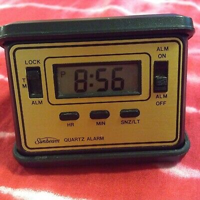 vintage travel clock SUNBEAM quartz alarm digital