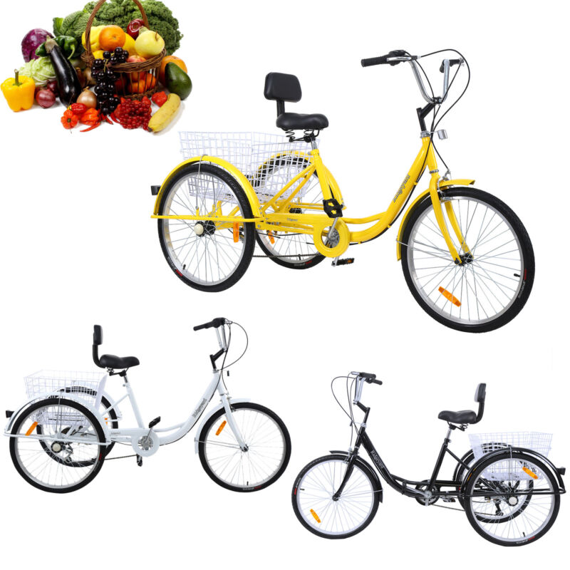 """3Color 24"""" Adult Tricycle 3-Wheel Shimano 7 Speed Bicycle Tr"""