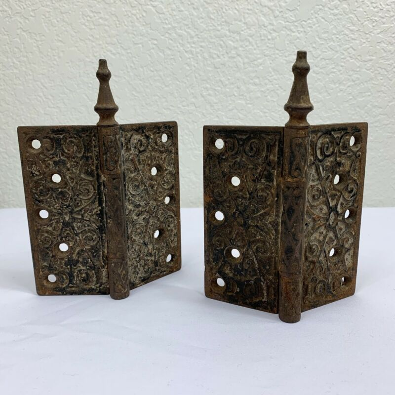 Antique Cast Iron Door Pair Hinges Victorian Edwardian Rusty Rustic Ornate Hinge