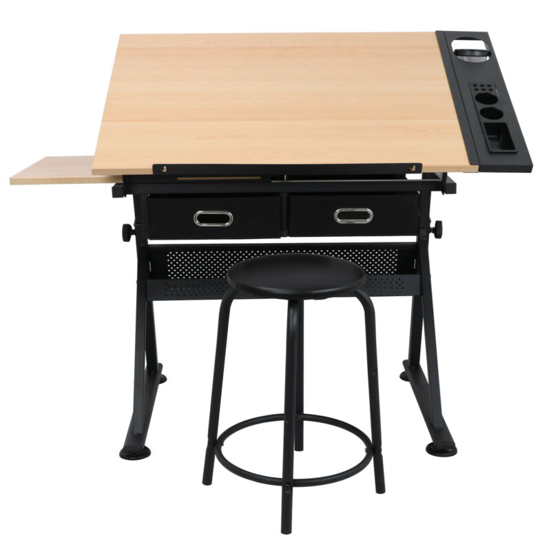 Drawing Table Craft Tiltable Tabletop with Stool & 2 Drawers Adjustable Drafting
